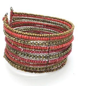 Copper Red Beaded Cuff Bracelet
